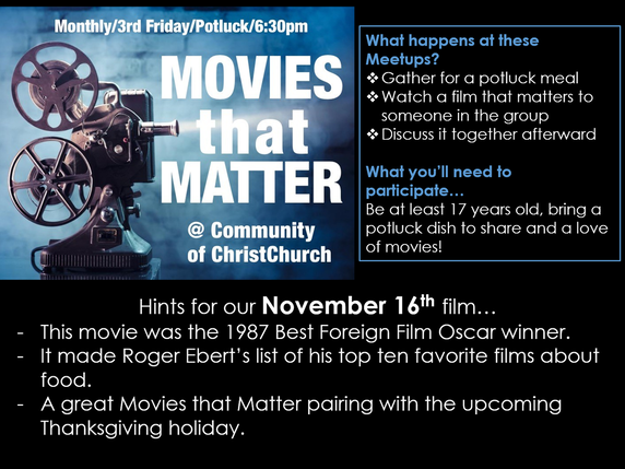 Movies that Matter - Community of ChristChurch